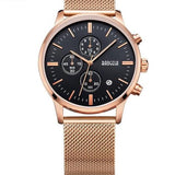 Chronograph Stainless Steel Watch With Mesh Strap - Gold-Rose-Pink