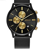 Chronograph Stainless Steel Watch With Mesh Strap - Blach And Gold