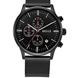 Chronograph Stainless Steel Watch With Mesh Strap - Black