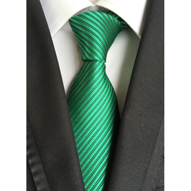 Green Necktie With Black Stripes