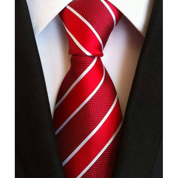 Two Tone Red And White Striped Necktie