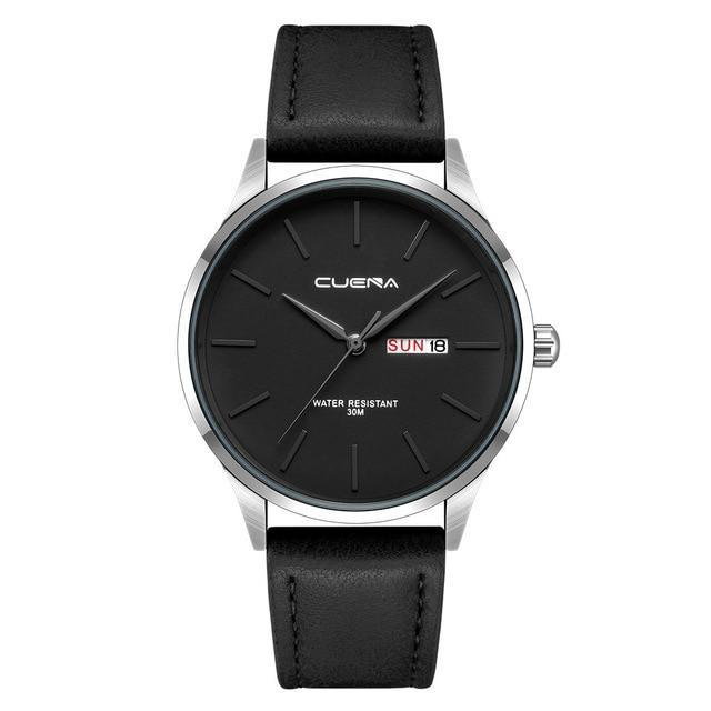 Mens Quartz Black Leather Waterproof Watch - Coffee - Leather Watches