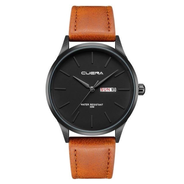Mens Quartz Black Leather Waterproof Watch - Brown - Leather Watches