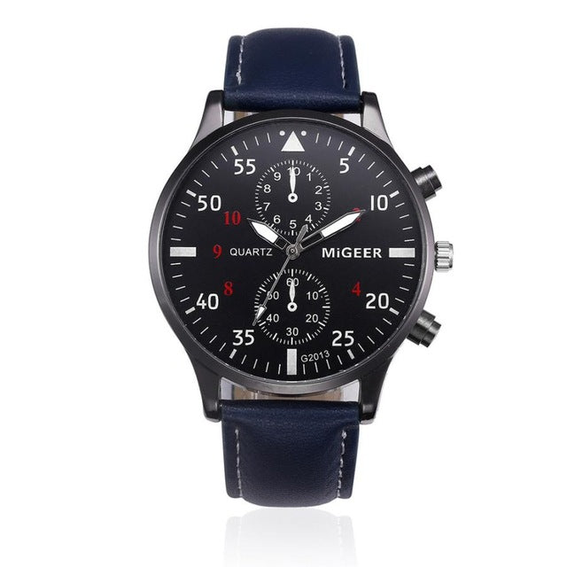 Leather Chronograph Military Sport Watch - Black - Leather Watches