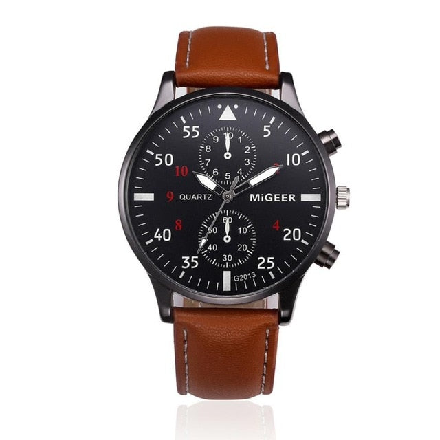 Leather Chronograph Military Sport Watch - Coffee - Leather Watches