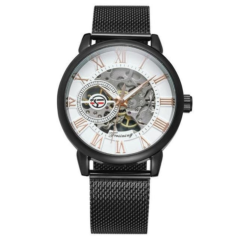 Mechanical Mens Transparent Waterproof Wristwatch - Black White - Mechanical Watches