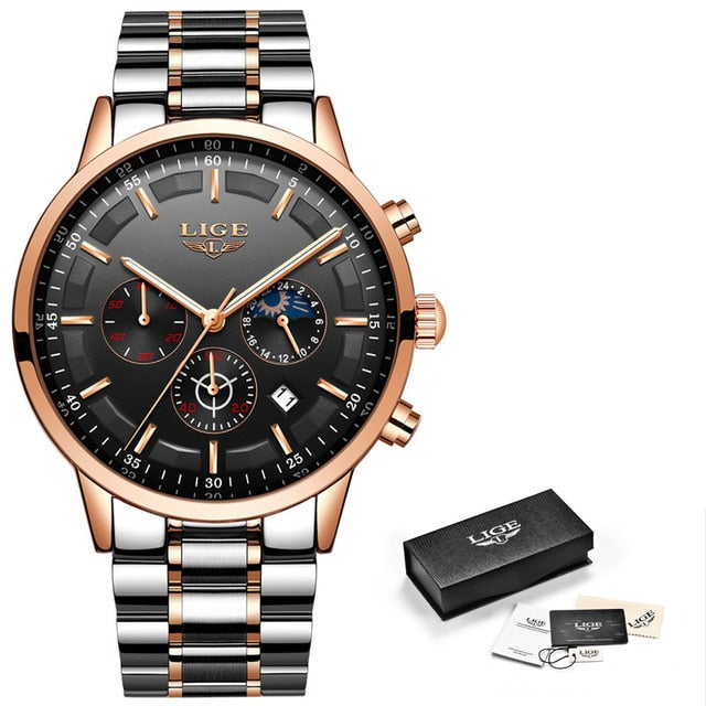 Chronograph Stainless Steel Band Watch - Rose Gold Black