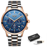 Stainless Steel Mens Dress Watch - Rose Gold Blue - Mechanical Watches