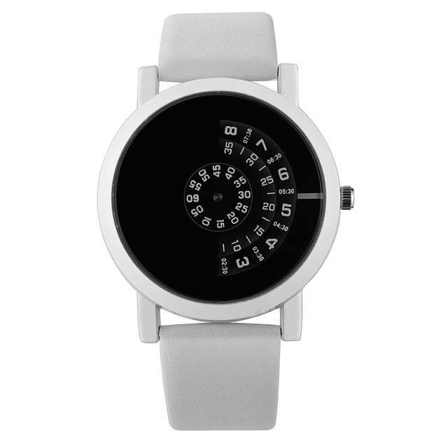 Mens Black Handless Watch - White - Leather Watches