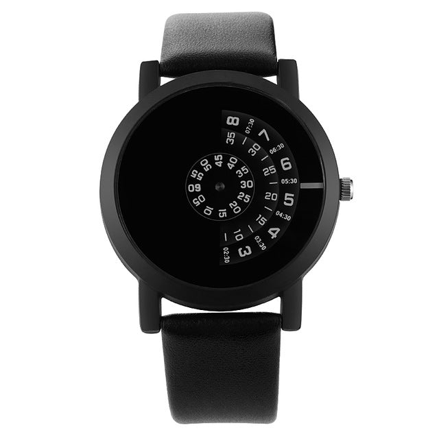 Mens Black Handless Watch - Black - Leather Watches