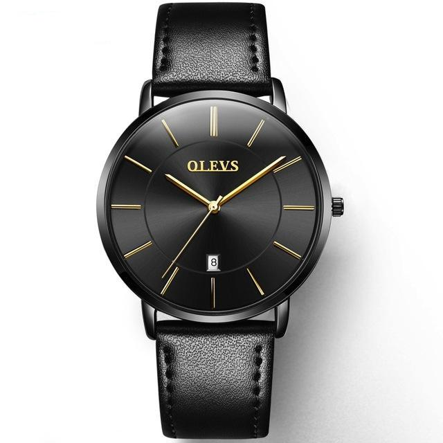 Leather Black Faced Mens Watch - Black - Leather Watches