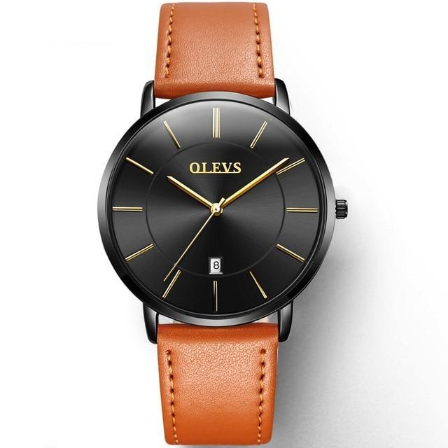 Leather Black Faced Mens Watch - Gold - Leather Watches