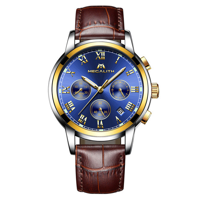 Men Business Waterproof Watch - Brown Blue Leather - Leather Watches