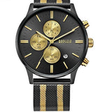 Chronograph Stainless Steel Watch With Mesh Strap - Black-Gold