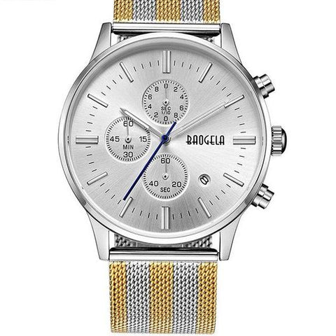 Chronograph Stainless Steel Watch With Mesh Strap - Silver-Gold
