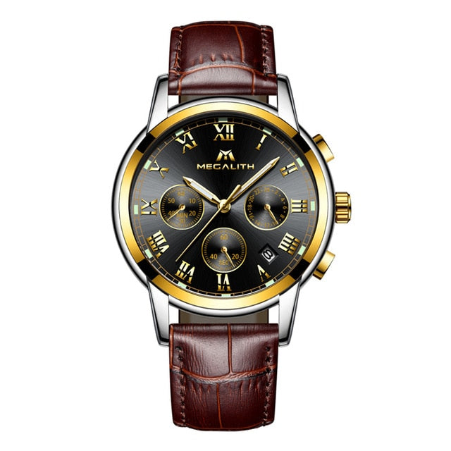 Men Business Waterproof Watch - Brown Black Leather - Leather Watches