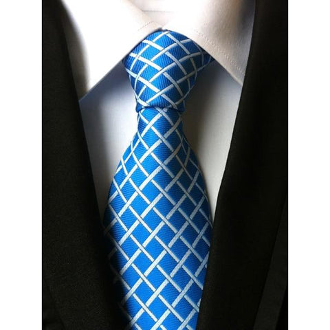 Blue Necktie With Diamond Pattern