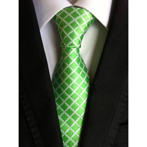 Green Checkered Pattern Necktie