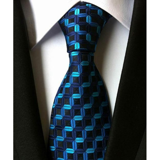 Black Necktie With Dark And Light Blue Stripes
