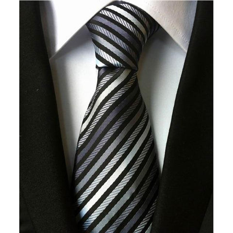 Black, Grey and White Stripped Necktie