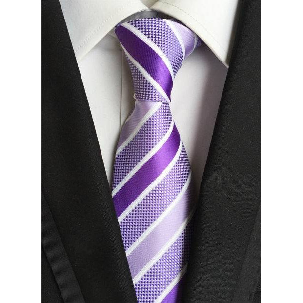 Purple Necktie With Dark And Light Lavender Stripes