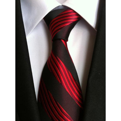 Black Necktie With Black And Red Stripes