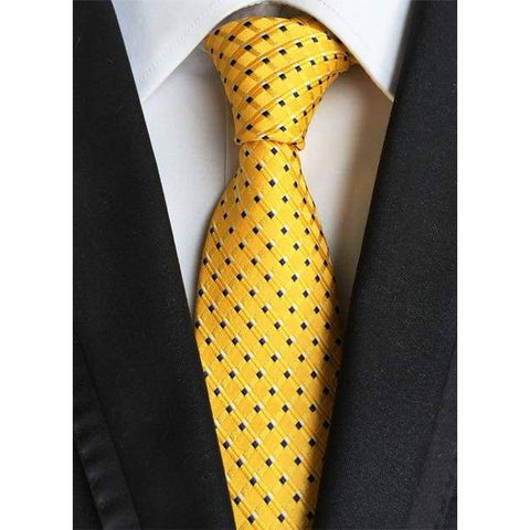 Yellow Necktie With Small Black Squares