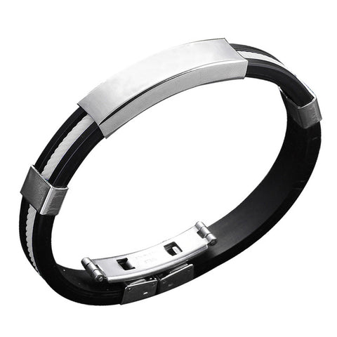 Stainless Steel And Rubber Bracelet - White - Bracelets