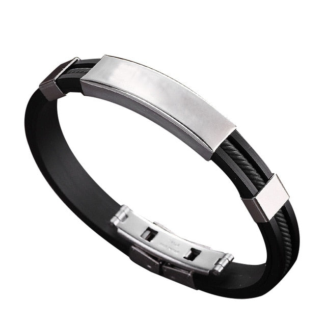 Stainless Steel And Rubber Bracelet - Black - Bracelets