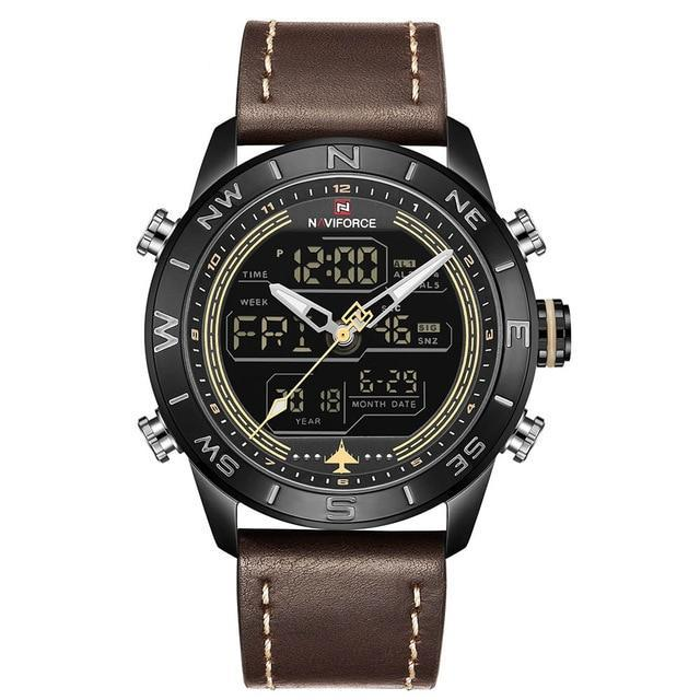 Dual Display Chronograph Sports Watch - Brown - Leather Watches