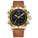 Dual Display Chronograph Sports Watch - Gold - Leather Watches