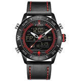 Dual Display Chronograph Sports Watch - Red - Leather Watches