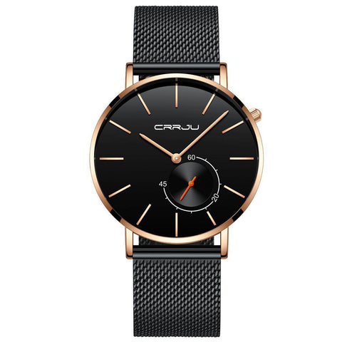 Mesh Band Minimalist Watch - Black Rose Black - Mechanical Watches