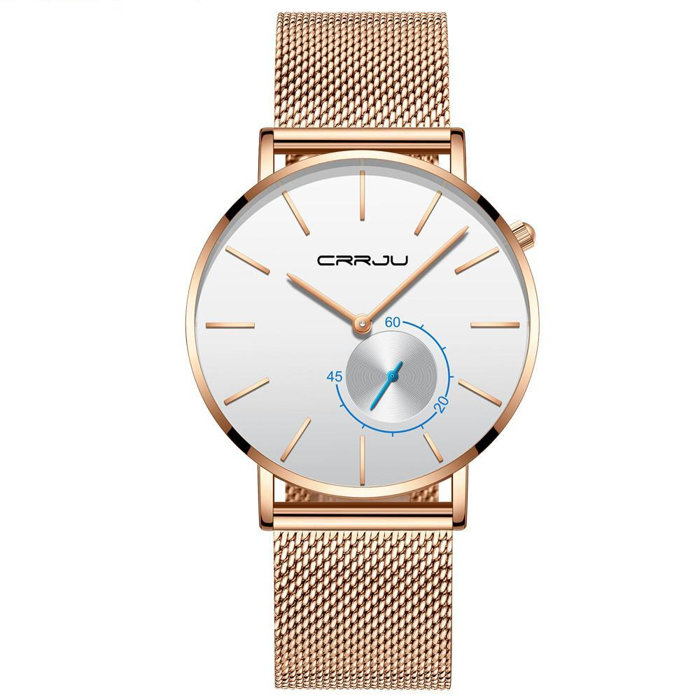 Mesh Band Minimalist Watch - Rose Gold White - Mechanical Watches