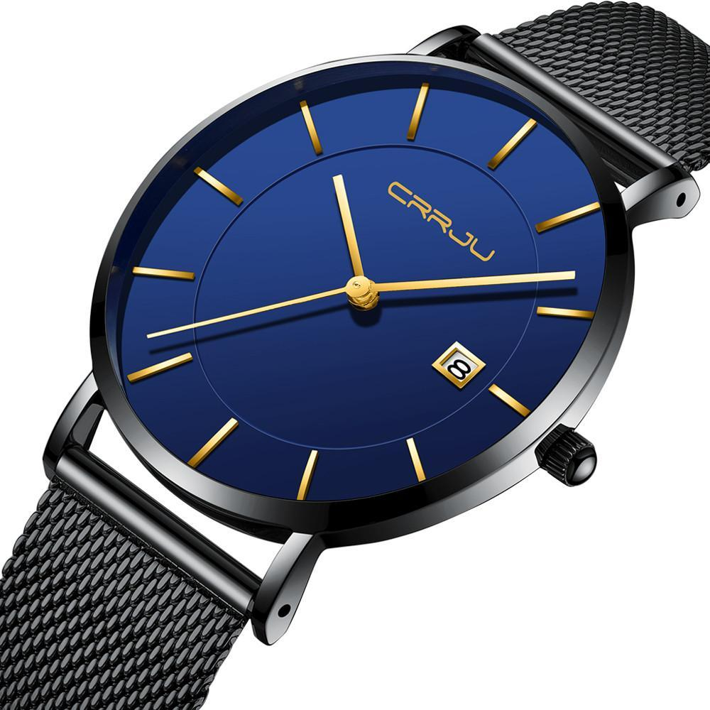 Simple Mens Watch With Date - Blue - Mechanical Watches