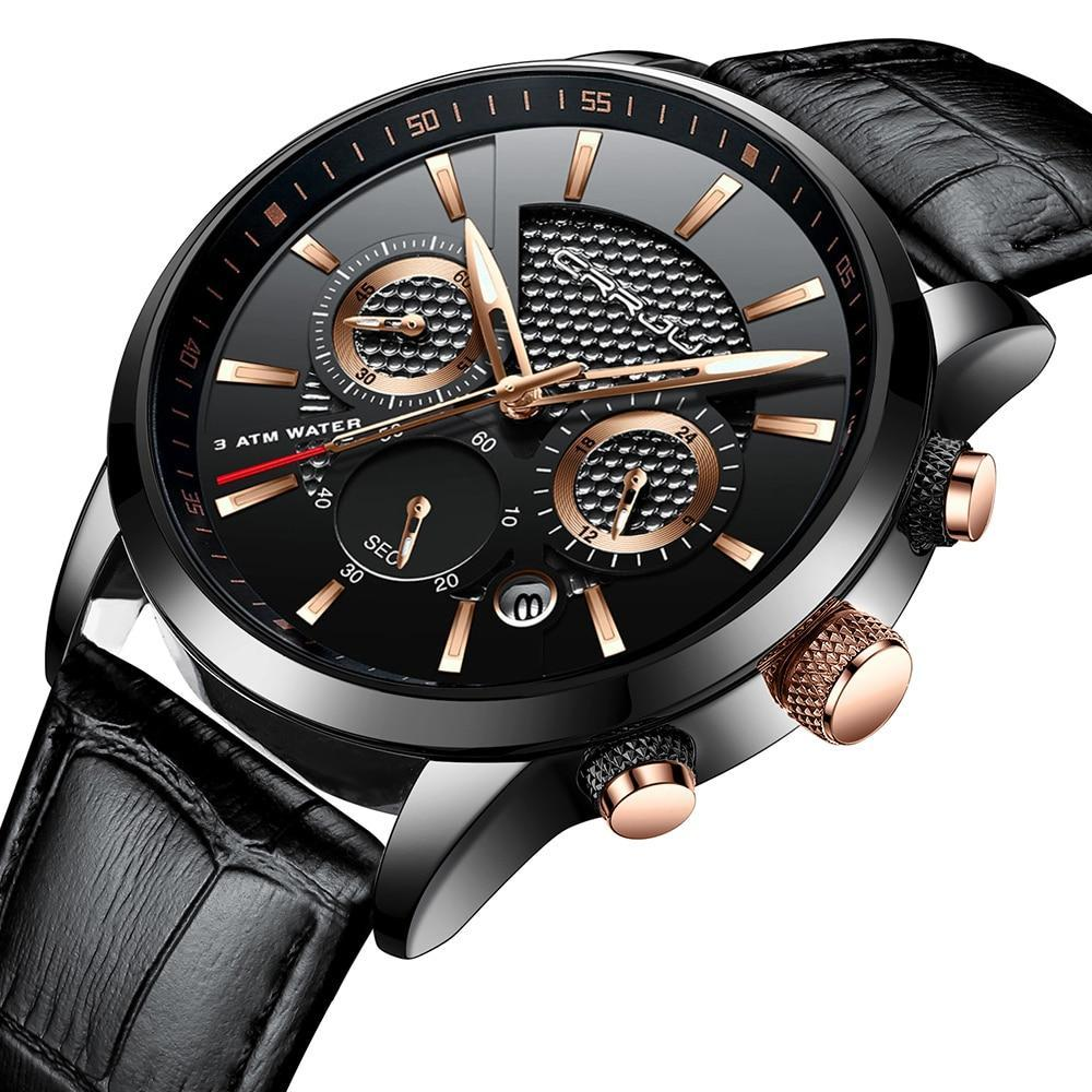 Casual Chronograph Leather Watch - Mechanical Watches