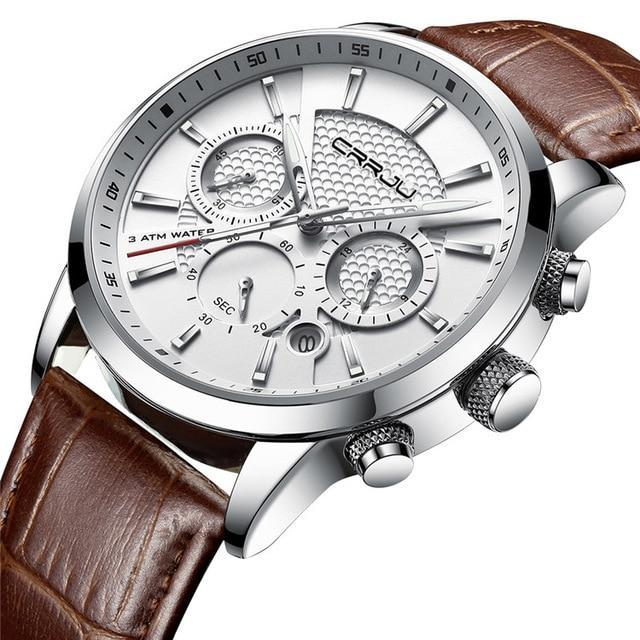 Casual Chronograph Leather Watch - Silver White - Mechanical Watches