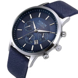 Casual Mens Watch With Date - Blue - Stainless Steel
