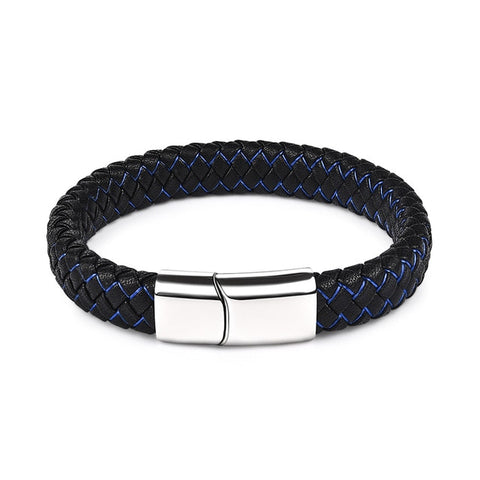 Cobra Style Braided Leather Bracelet - Blue 1 / 22Cm - Bracelets