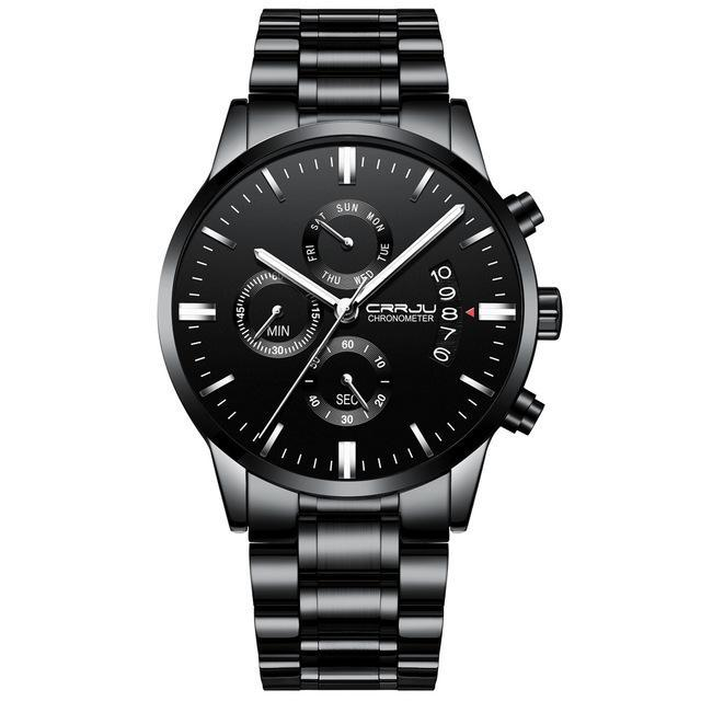 Black Chronograph Stainless Steel Watch - Silver Steel - Mechanical Watches