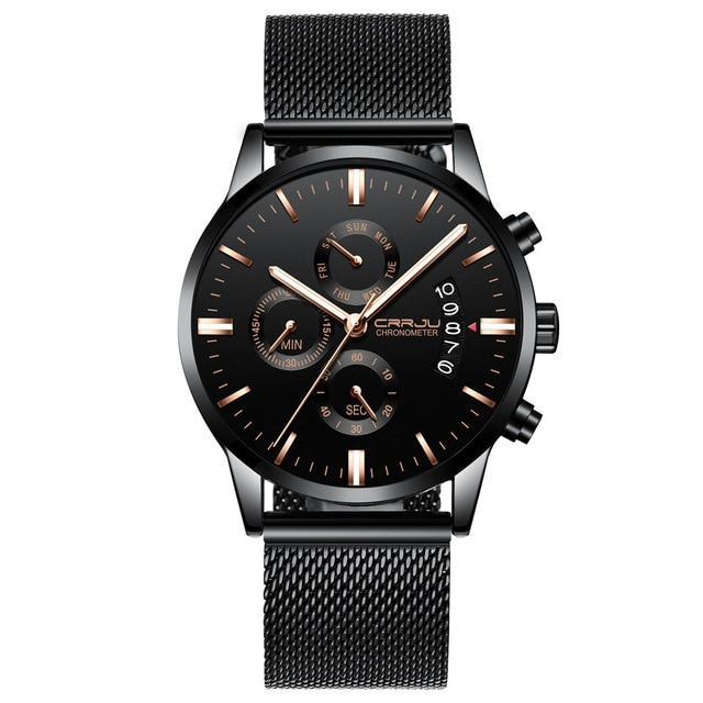 Black Chronograph Stainless Steel Watch - Gold Mesh - Mechanical Watches