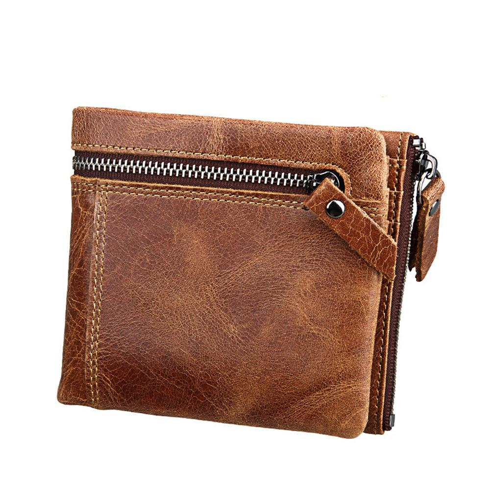 Brown Leather Bifold Zipper Wallet - Bifold Wallet