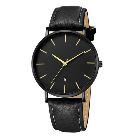 Leather Minimalist Design Watch - Black - Leather Watches