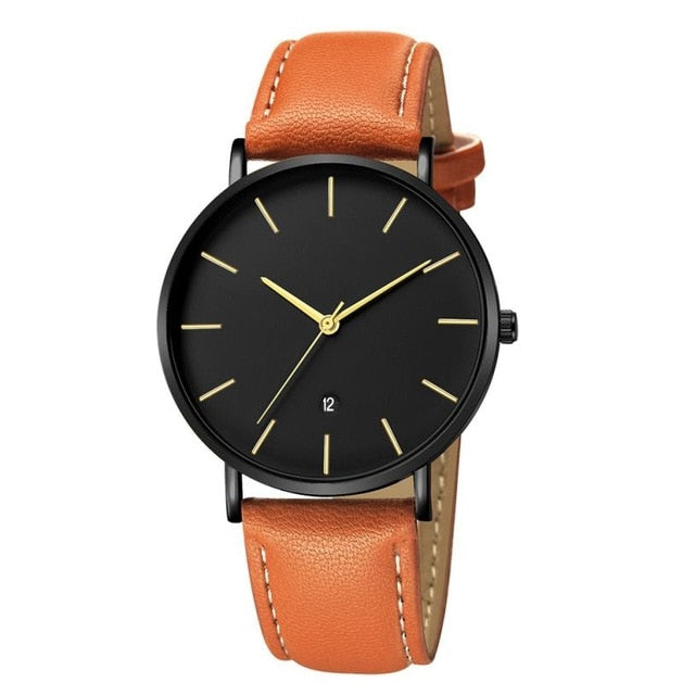 Leather Minimalist Design Watch - Gold - Leather Watches