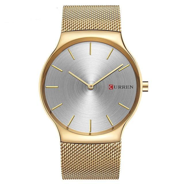 Minimalist Mesh Band Watch - Gold Gray - Mechanical Watches