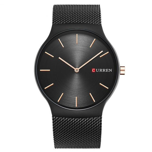 Minimalist Mesh Band Watch - Black Black - Mechanical Watches