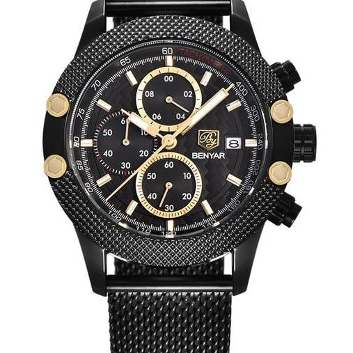 Chronograph Watch With Rubber Band - Gold Black 1 - Mechanical Watches