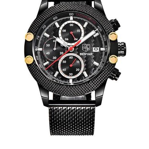 Black Chronograph Watch With Mesh Band - Black Red - Watches