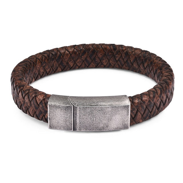 Cobra Style Braided Leather Bracelet - Brown 1 / 18.5Cm - Bracelets
