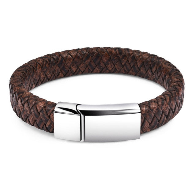 Cobra Style Braided Leather Bracelet - Brown 2 / 18.5Cm - Bracelets